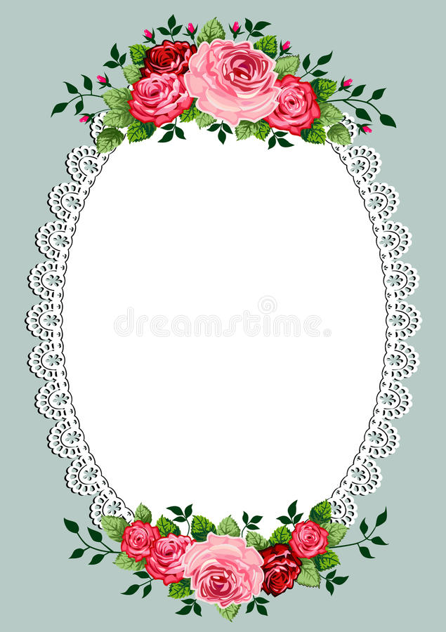 Vintage roses oval frame. With space for your text or design, invitation template vector illustration