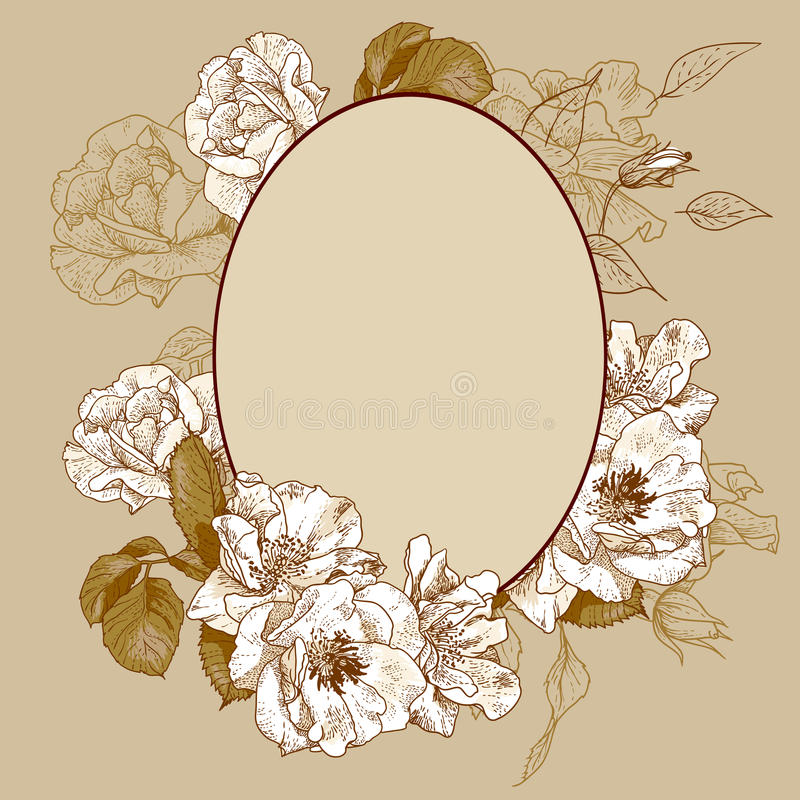 Vintage roses oval frame. With space for your text stock illustration