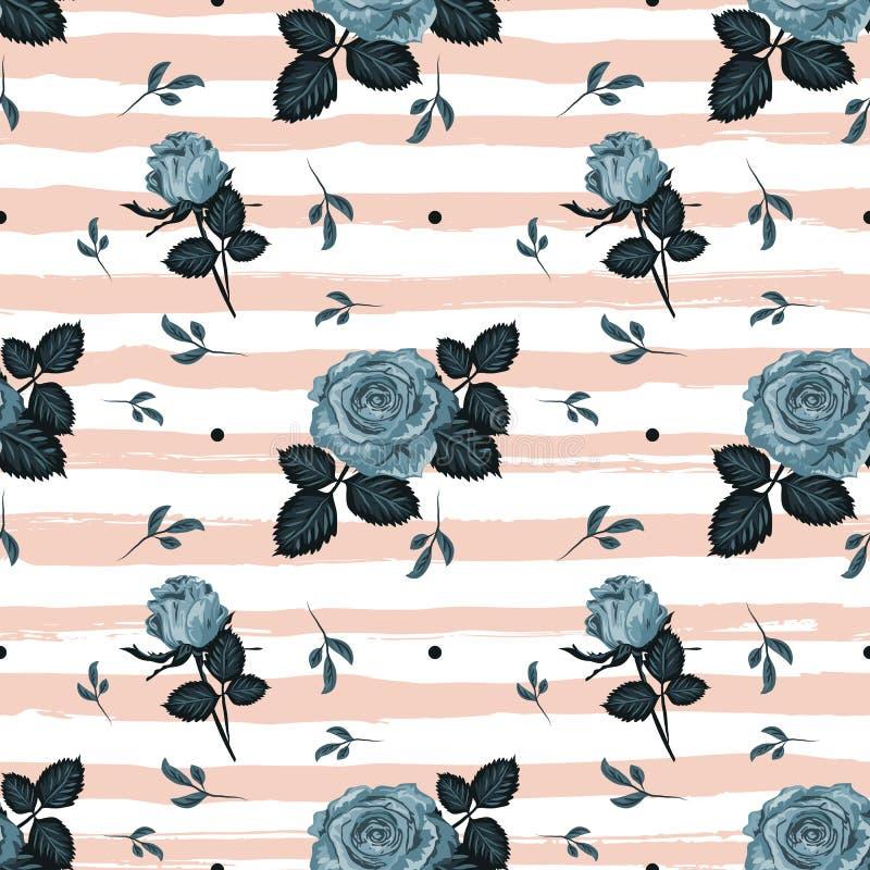 Vintage roses pattern Hand-drawn blue roses striped background. Floral backdrop, vintage flowers wallpaper. Vector vector illustration