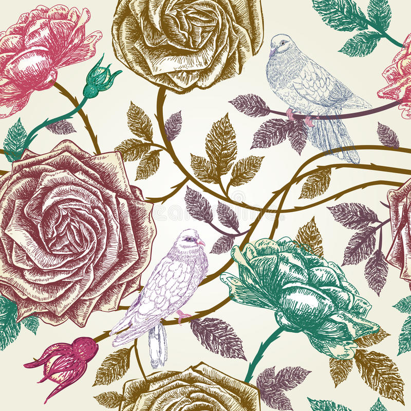 Vintage roses seamless pattern with birds. royalty free illustration
