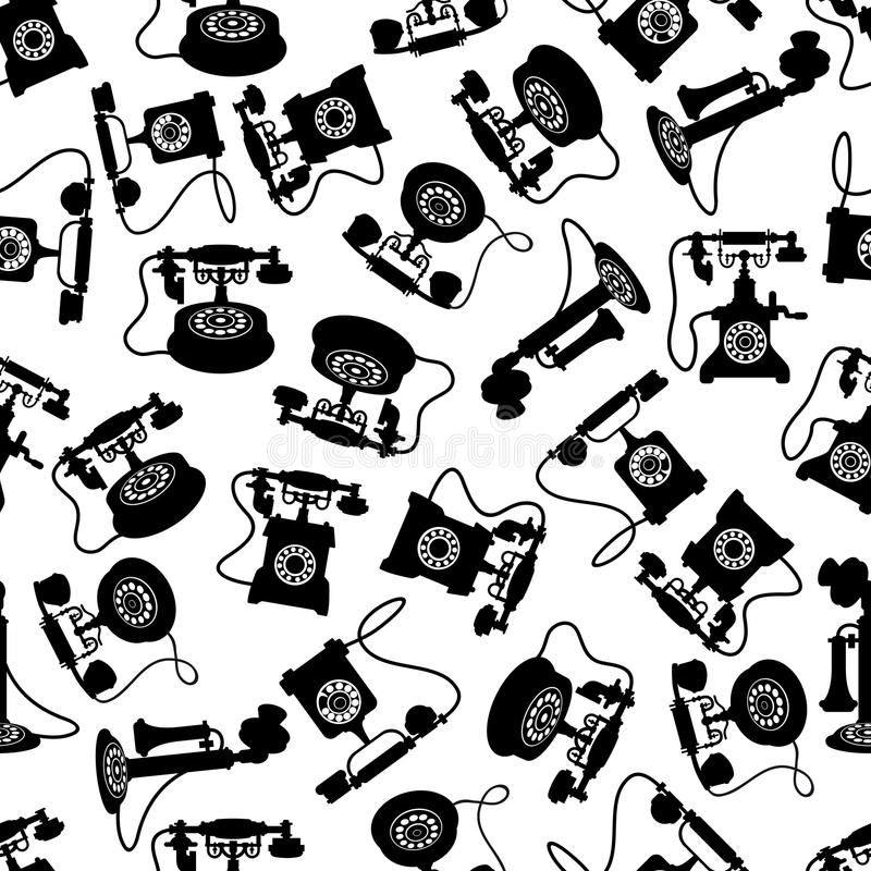 Vintage rotary dial telephones pattern vector illustration