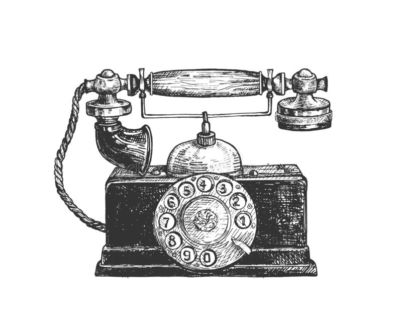 Vintage rotary old disc telephone. Vector illustration of retro telephone. Vintage retro old disc phone in traditional western style. Vintage hand drawn style vector illustration