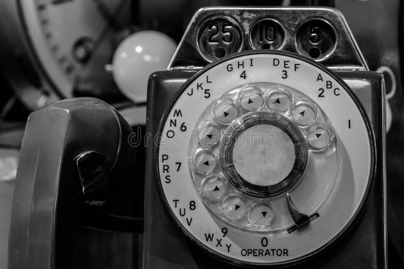 Vintage Rotary Pay Phone - Old Pay Telephone with Coin Slots III royalty free stock photography