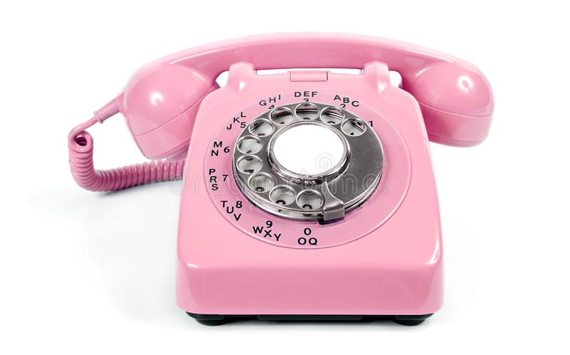 Old Vintage Rotary Dial Pink Telephone stock image