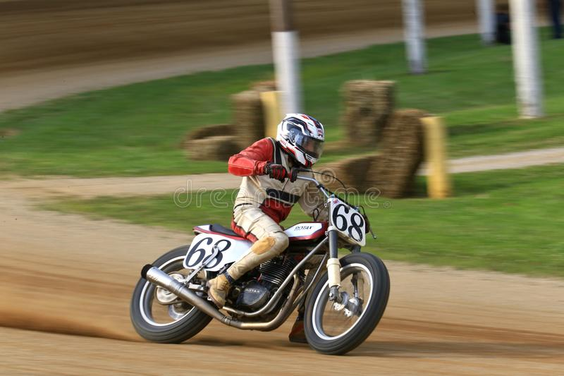 Vintage Rotax bike. Classic Rotax race bike in on the track at the pro motorcycle racing event on the dirt oval track speedway, Ashland County, Ohio, United stock image
