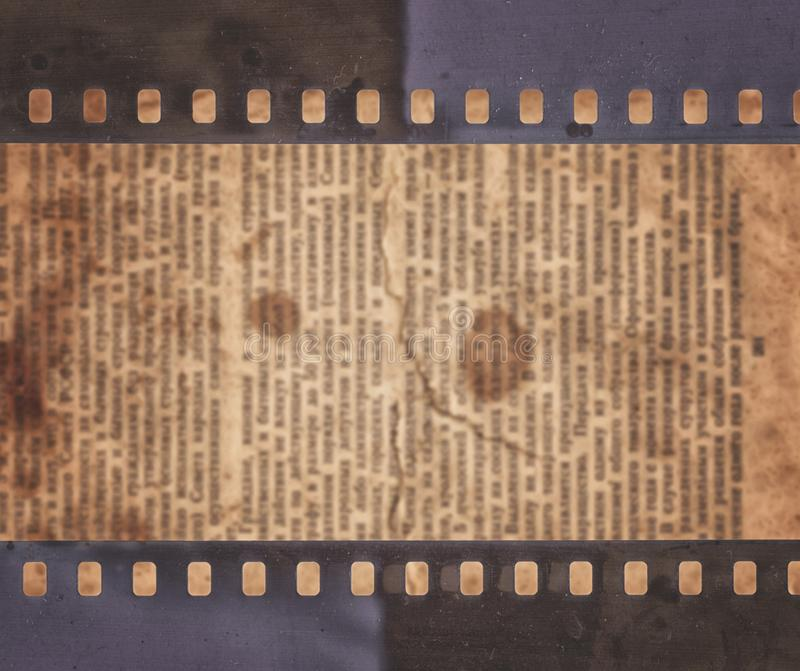 Vintage background with old newspaper and retro film strip stock illustration