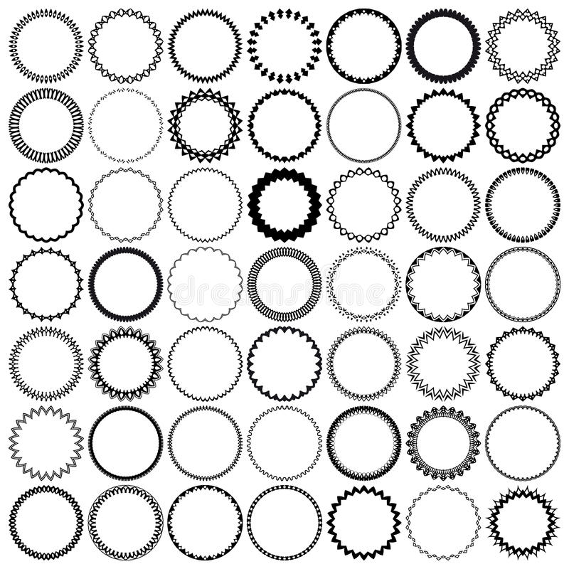 49 vintage round borders. Set with circle frames. royalty free illustration