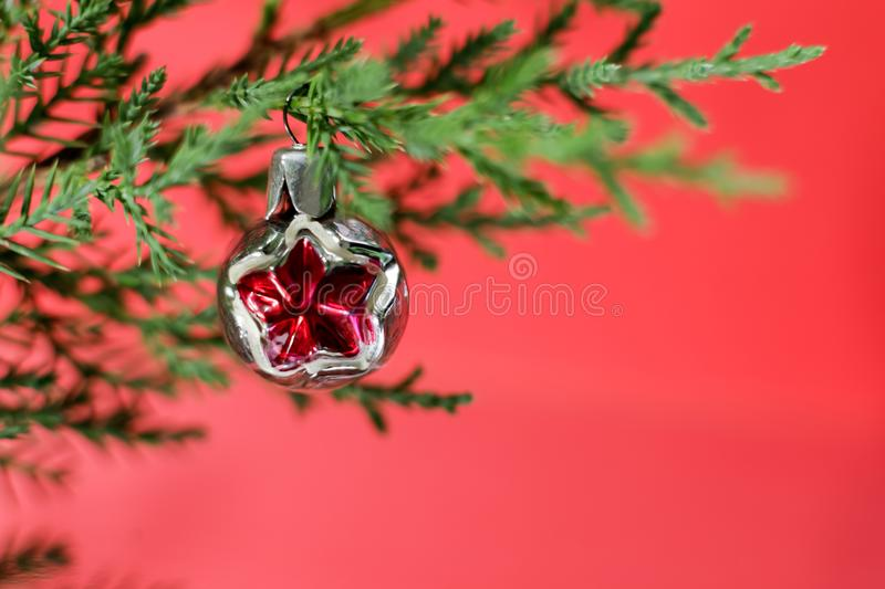 A vintage round Christmas toy weighs on a juniper branch on a bright red background. Image for Christmas design. stock photo