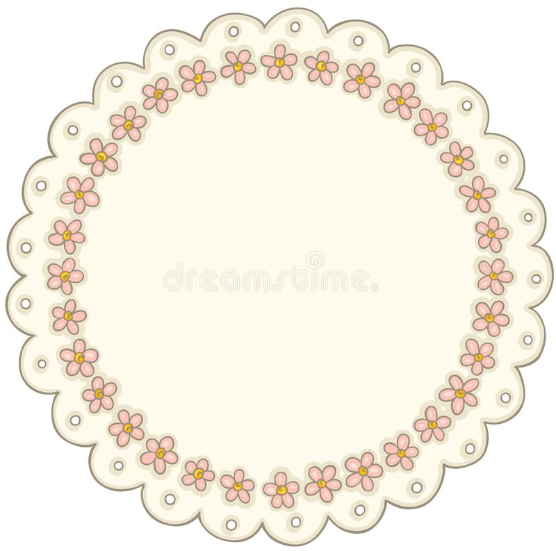 Vintage round flower lace label. Scalable vectorial representing a vintage round flower lace label, element for design, illustration isolated on white background royalty free illustration