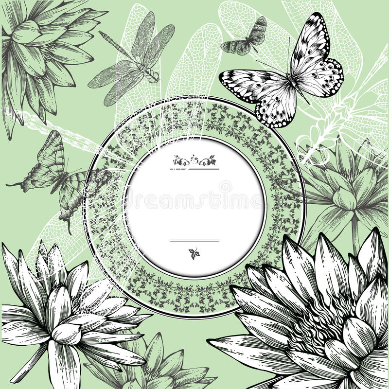 Download Vintage Round Frame With Water Lilies, Butterflies Stock Vector - Image: 23769673