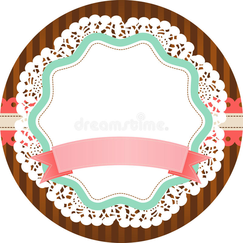 Vintage round label with blank banner stock illustration