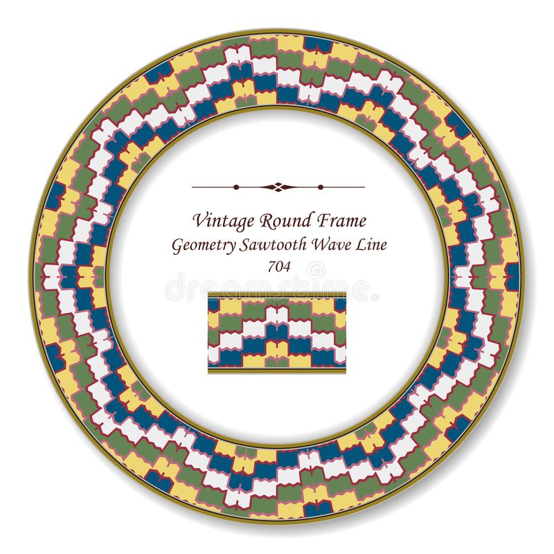 Vintage Round Retro Frame geometry colorful sawtooth wave line. Antique style template ideal for invitation or greeting card design stock illustration