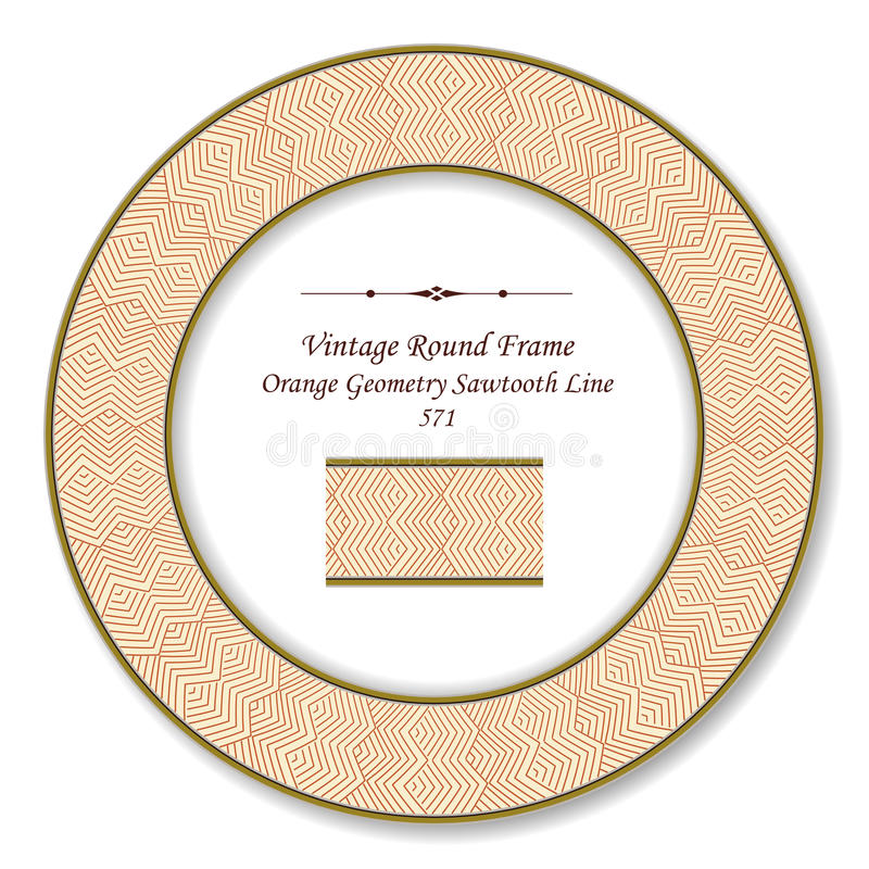 Vintage Round Retro Frame Orange Geometry Sawtooth Line. Can be used for both print and web page royalty free illustration