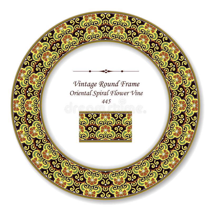 Vintage Round Retro Frame 445 Oriental Spiral Flower Vine. Antique retro abstract round frame and background can be used for wallpaper, web page background vector illustration