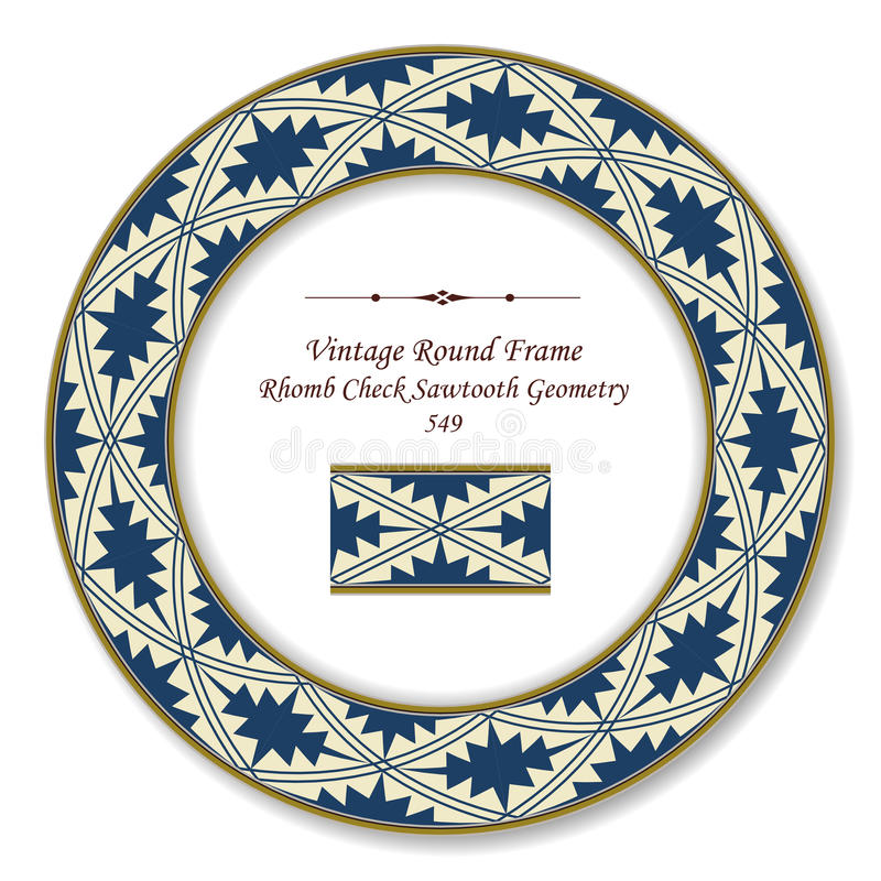 Vintage Round Retro Frame Rhomb Check Sawtooth Geometry. Can be used for both print and web page stock illustration