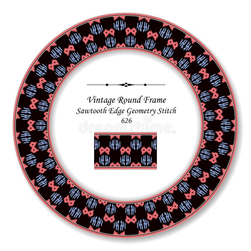 Vintage Round Retro Frame sawtooth edge aboriginal geometry stitch. Antique style template ideal for invitation or greeting card design vector illustration