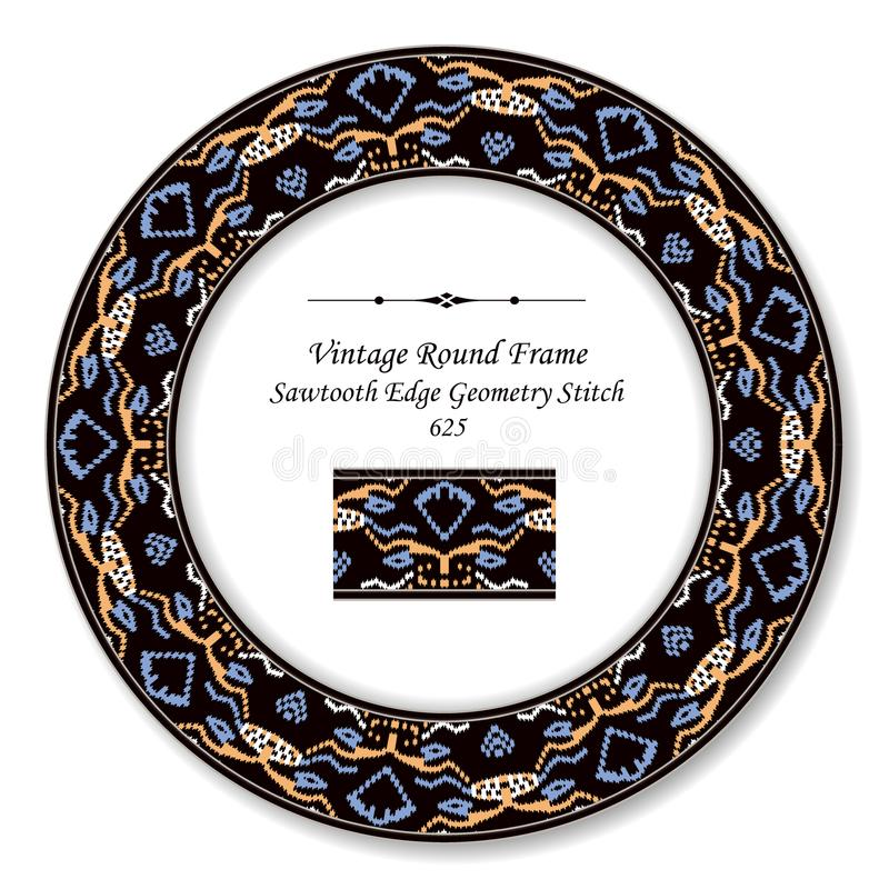 Vintage Round Retro Frame sawtooth edge aboriginal geometry stitch. Antique style template ideal for invitation or greeting card design royalty free illustration