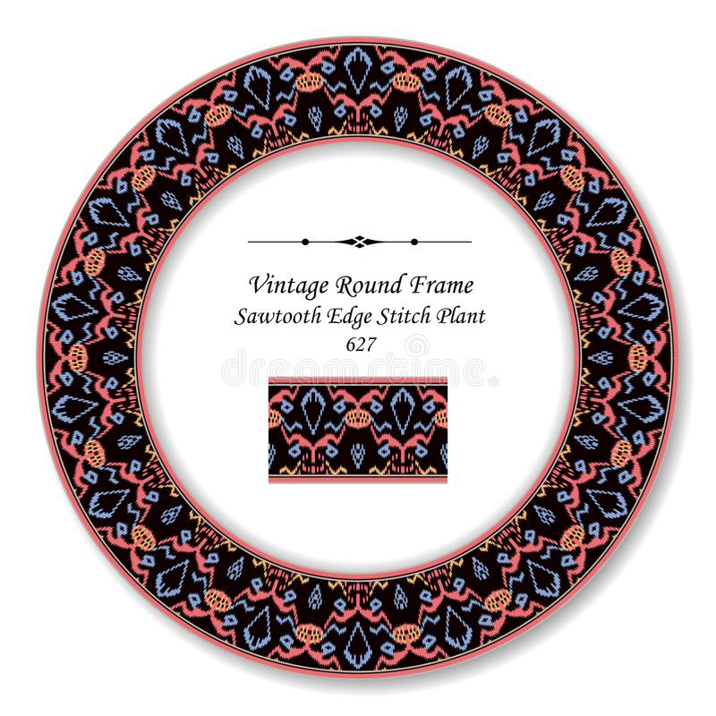 Vintage Round Retro Frame sawtooth edge pink stitch plant. Antique style template ideal for invitation or greeting card design stock illustration