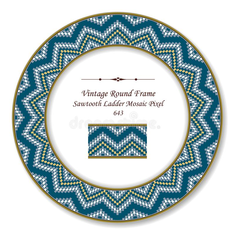 Vintage Round Retro Frame sawtooth ladder mosaic pixel geometry. Wave, antique style template ideal for invitation or greeting card design stock illustration