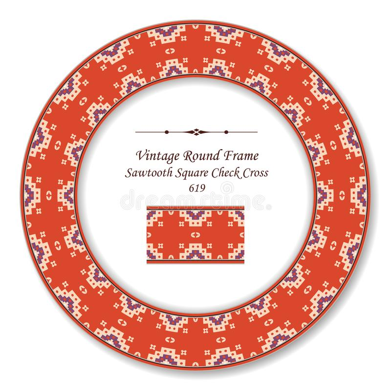 Vintage Round Retro Frame sawtooth square check cross dot. Antique style template ideal for invitation or greeting card design vector illustration