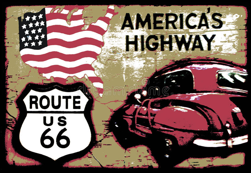 Vintage Route 66. An old retro sign image of Americas Highway Route US 66 vector illustration