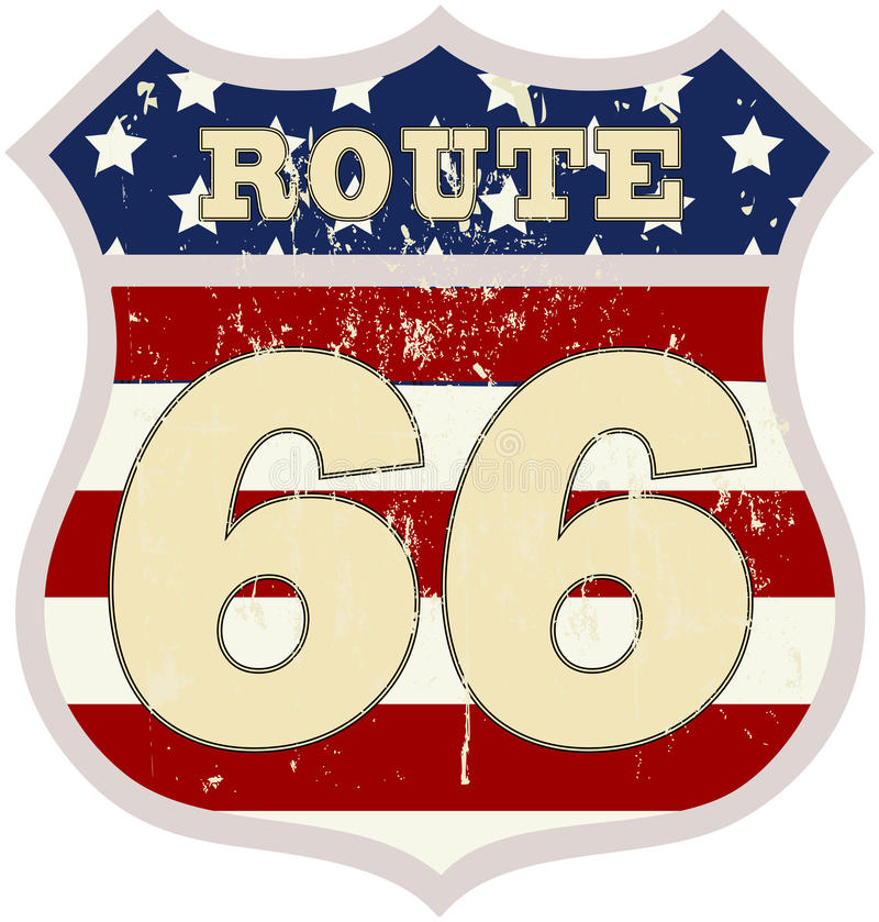 Vintage route 66 road sign. Retro style, vector illustration vector illustration