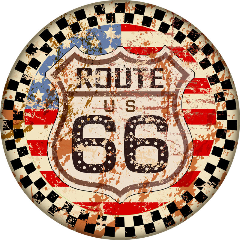 Vintage route 66 sign. Retro grungy vector illustration stock illustration