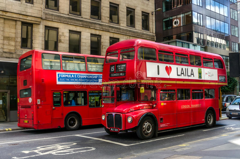Vintage Routemaster Bus in Central London. Vintage Routemaster Bus on Heritage route 15 in Central London. The Routemaster is a double-decker bus with a half-cab royalty free stock photo