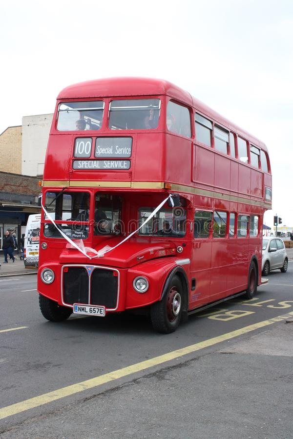 Vintage Routemaster double deck bus at Morecambe. The Ribble Vehicle Preservation Trust held a vintage bus running day on Sunday May 26th 2019. Here a stock image