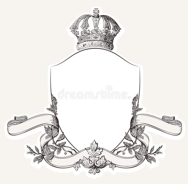 Free Vintage Royal Crest With Shield, Crown And Banne Royalty Free Stock Photo - 40352005