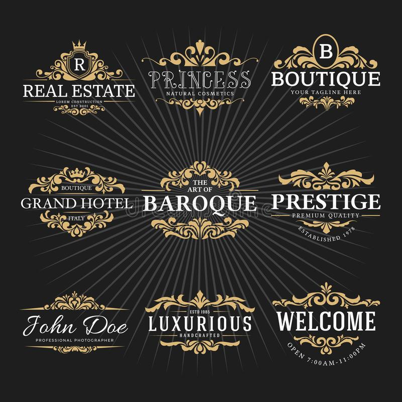 Free Vintage Royal Flourish Frame Logo Decorative Design Stock Images - 103171814