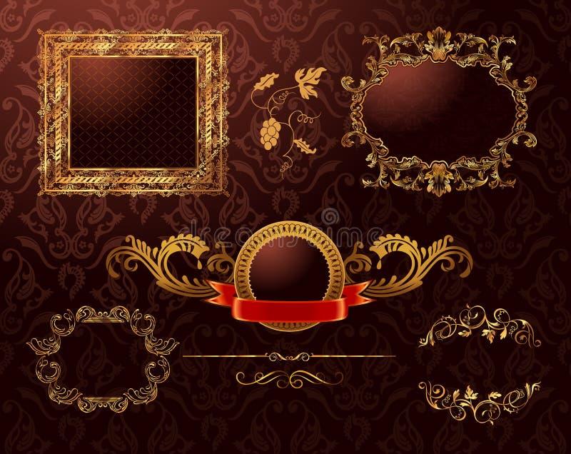 Vintage Royal Gold Frames Ornament. Vector Element Stock Images