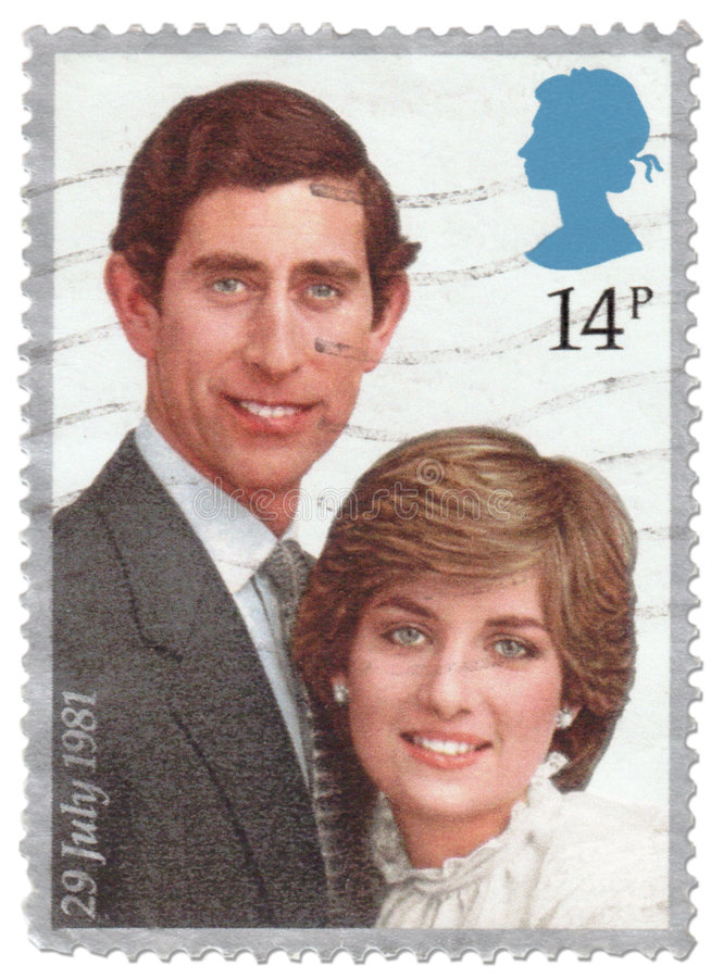 Vintage Royal Wedding Stamp 1981. British 14 pence stamp issued to commemorate the British Royal Wedding of HRH Prince Charles to Lady Diana Spencer 29 July 1981 royalty free stock images