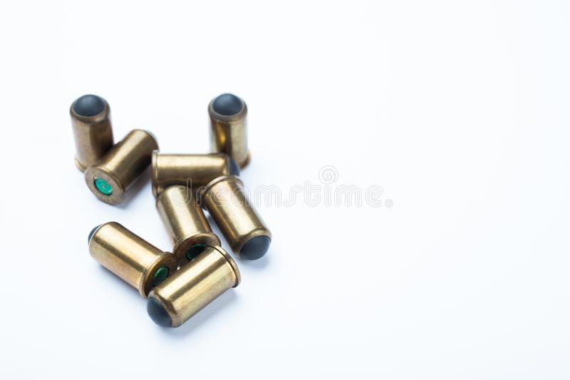 Vintage rubber bullets on a white background. Copy space royalty free stock images
