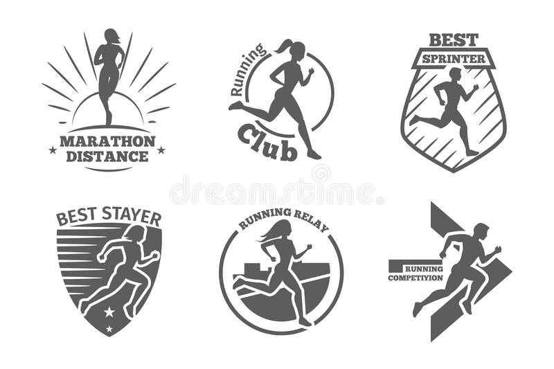 Vintage running club vector labels and emblems. Athletic silhouette training, athlete run illustration stock illustration