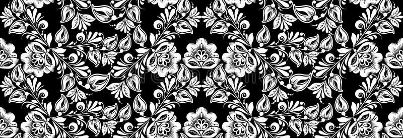 Vintage russian ornament for black white floral print. Seamless pattern. Background khokhloma design. stock illustration