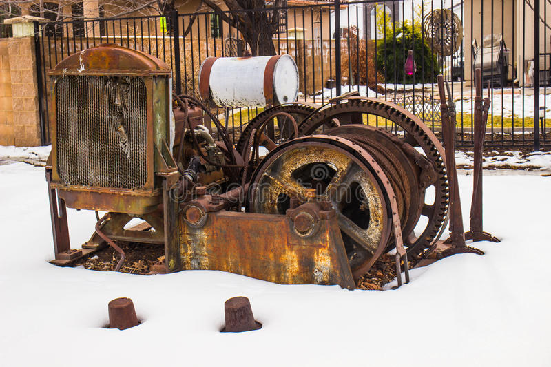 Vintage Rusted Engine & Cable in Winter stock photo