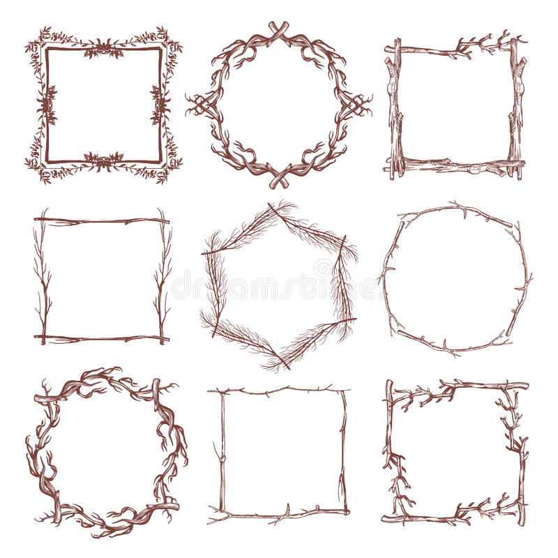Free Vintage Rustic Branch Frame Borders, Hand Drawn Vector Set Stock Image - 89791501