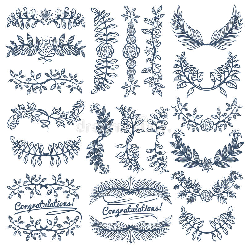Download Vintage Rustic Decoration For Wedding Celebration Design Sketch Empty Wreath And Border Frames Vector