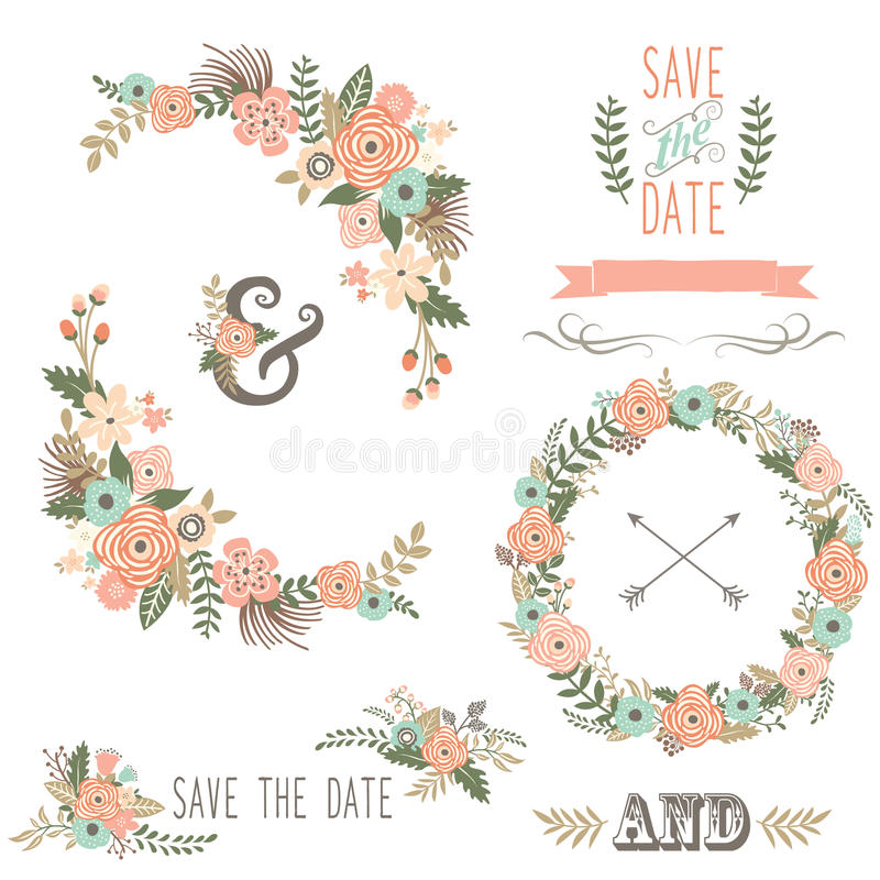 Download Vintage Rustic Floral Wreath Stock Vector