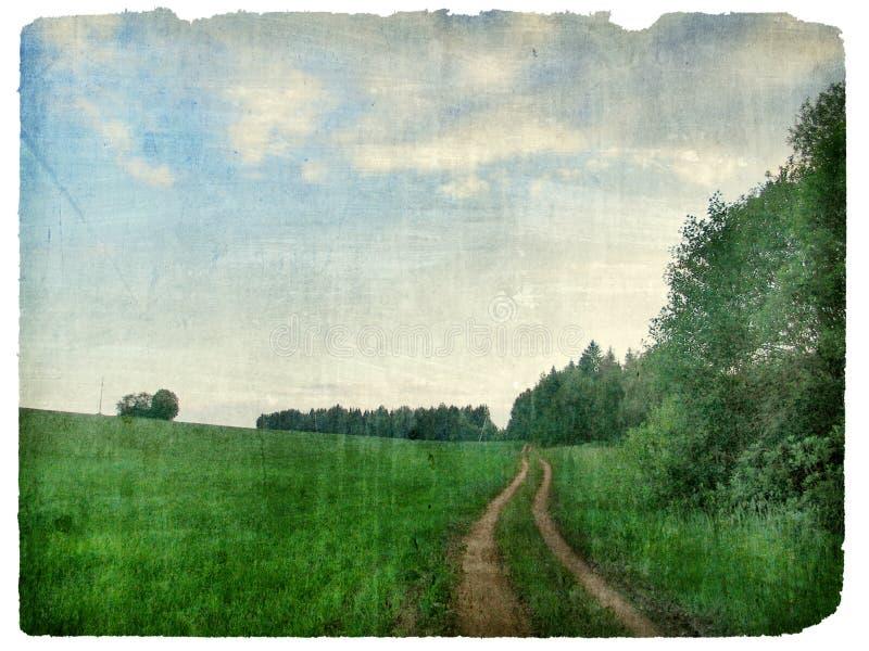 Vintage rustic landscape. Vintage grunge old rustic landscape stock photography