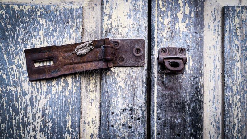Vintage rustic stain old lock stain U line Hasp Hardened Staple equipment stock photos
