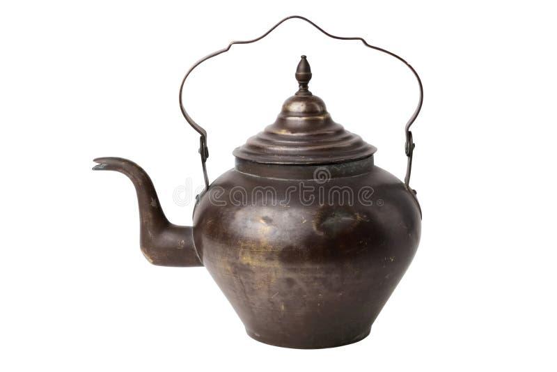 Vintage rustic tea kettle on white background. stock image