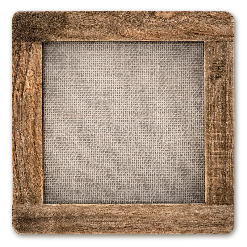 Vintage Rustic Wooden Frame With Canvas On White Stock