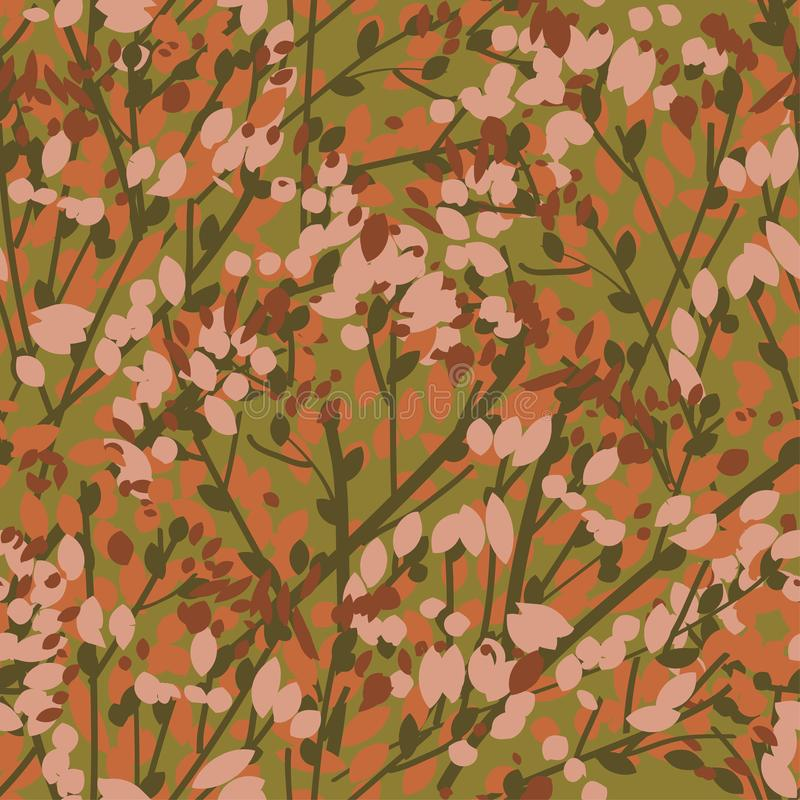 Vintage 70s color leaves and branches pattern royalty free illustration