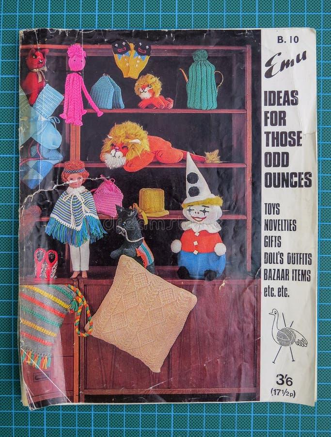 Vintage 1960s Emu knitting pattern booklet, gifts and toys. Wrexham, UK - May 31, 2018: Vintage Emu knitting and crochet pattern booklet for making toys and stock image