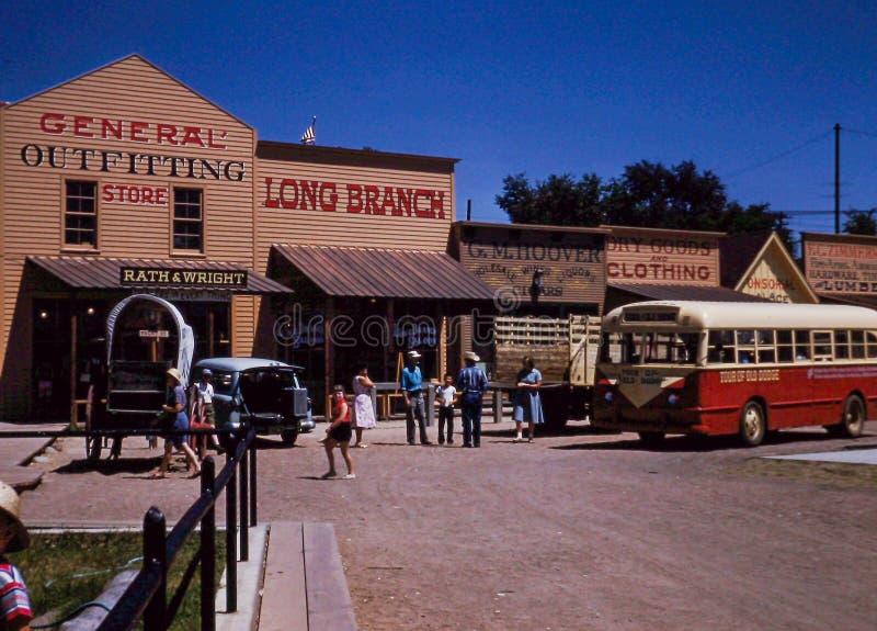 Vintage 1950's image of Dodge City, Kansas. royalty free stock images