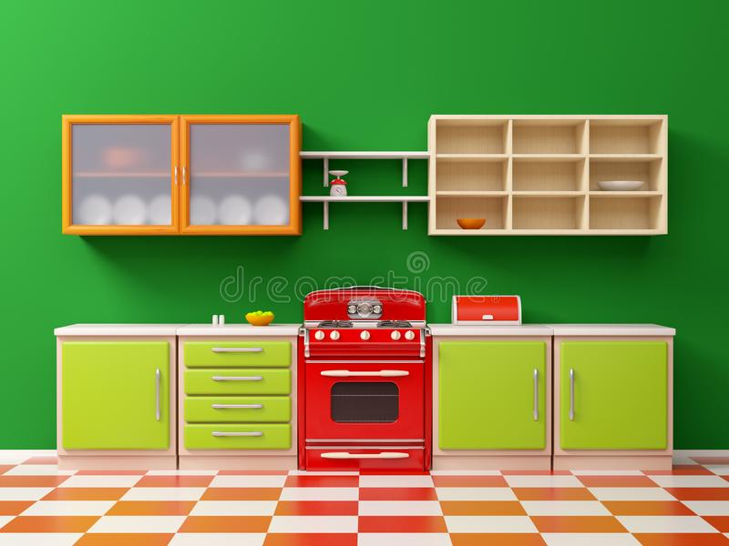 Vintage 50s Kitchen Flat Stock Illustration Illustration Of Checkered 112965006