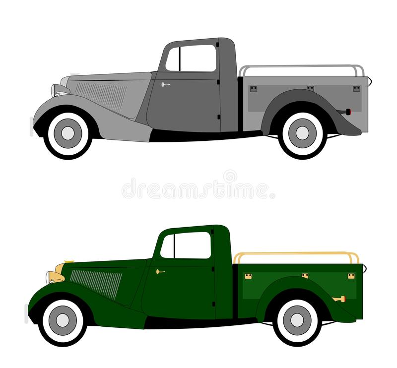 Vintage 1940s pickup truck. Pickup truck from forties era stock illustration