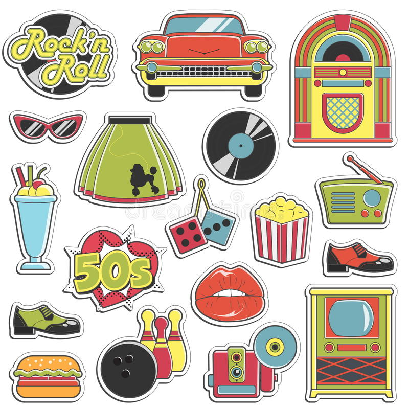 Vintage 1950s retro style stickers set vector illustration